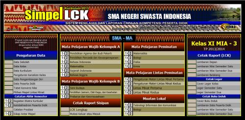 menu utama LCK SMA
