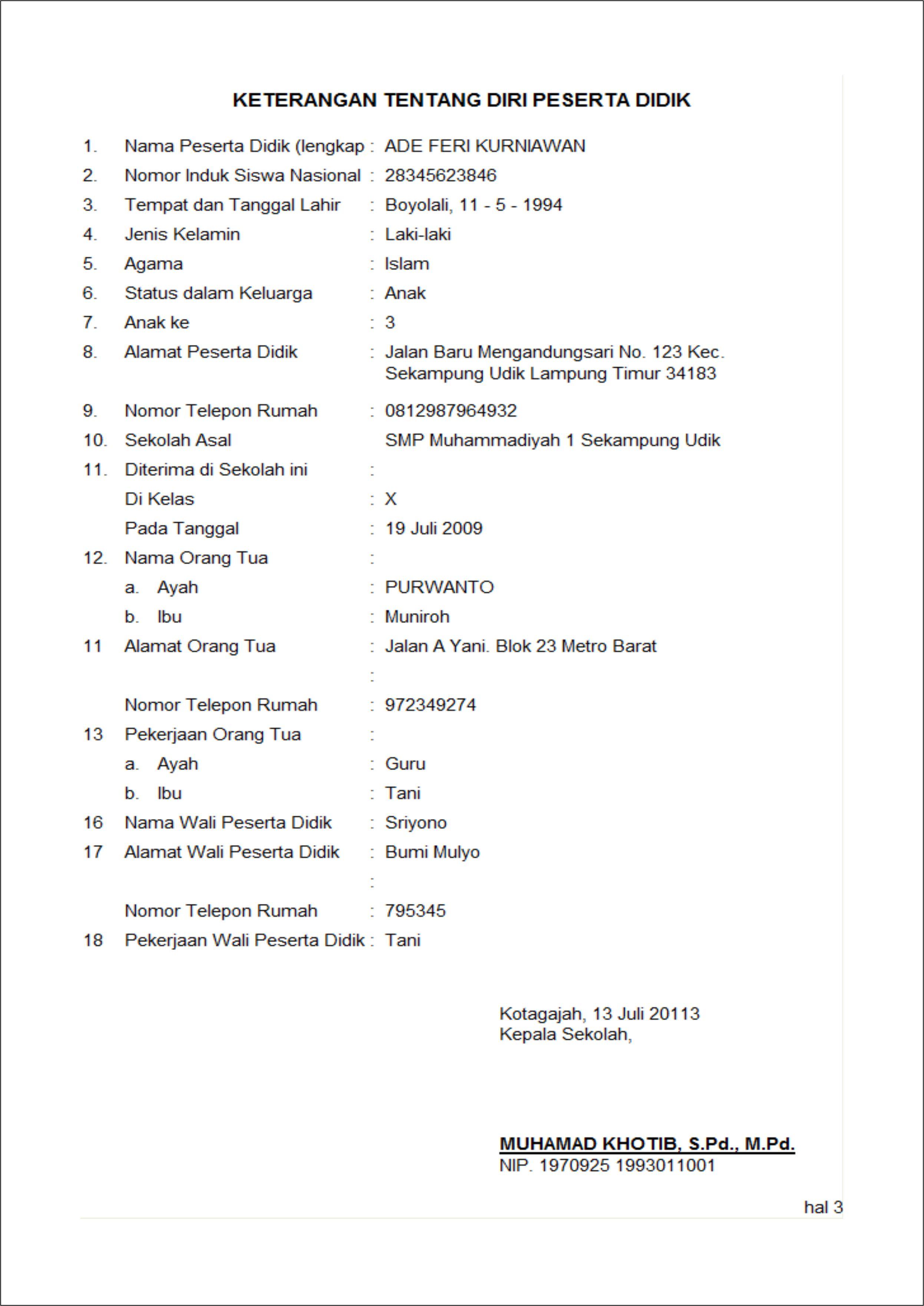 Contoh Hasil pencetakan lembaran raport (LCK)