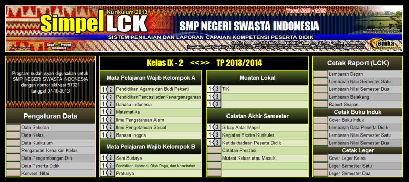 menu utama LCK SMP 2