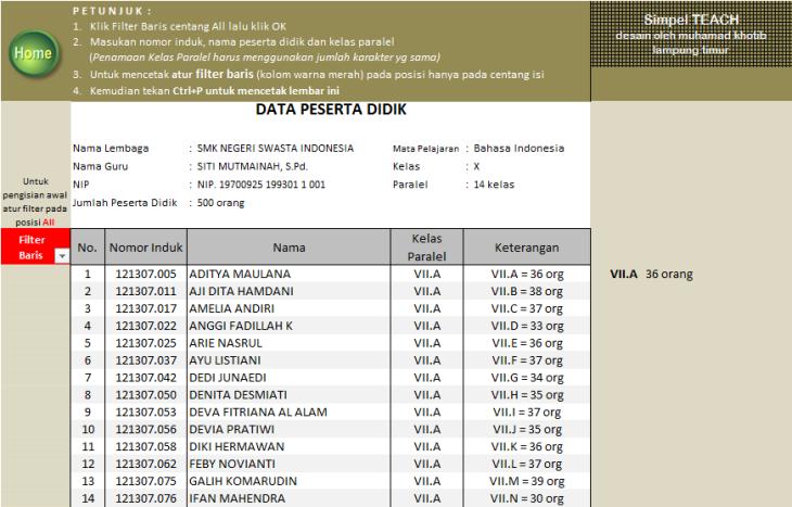 menu datasiswa K-13
