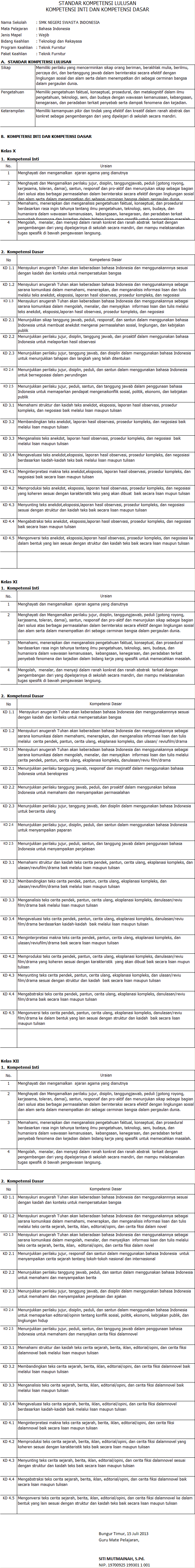 menu Kurikulum