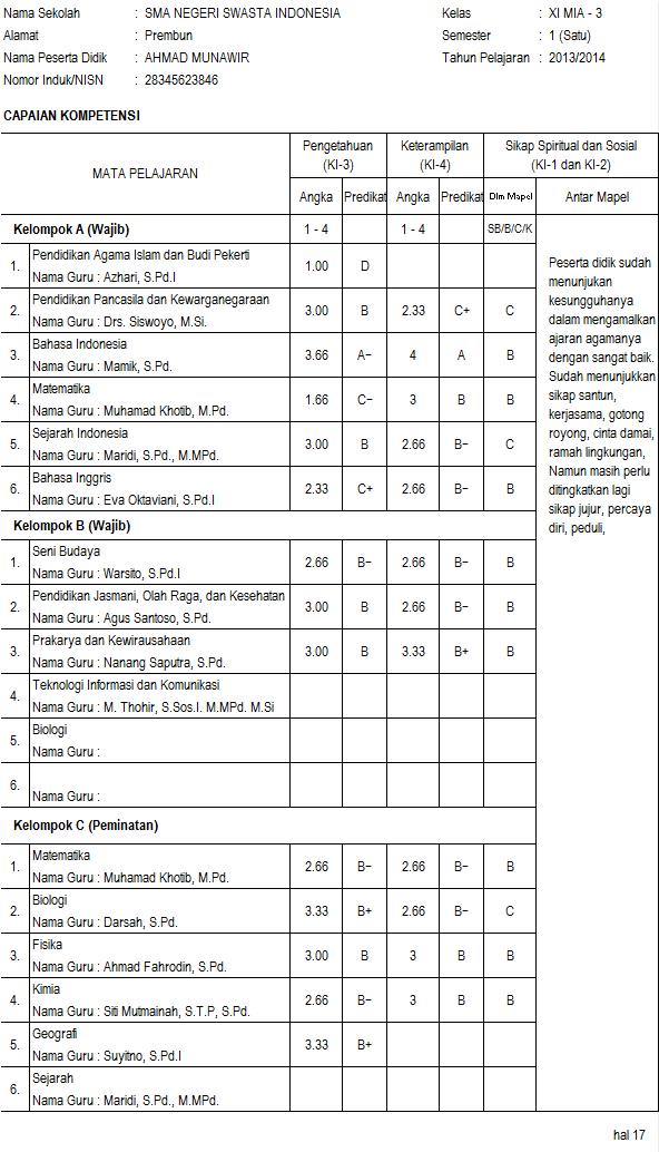 Raport Smk Kurikulum 2013 Simpel Pas